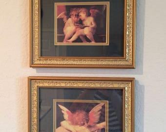 Angel Art Prints / 2 Vintage Gold Framed Reproduction Angel Art Prints Custom Framed Shabby Chic Decor