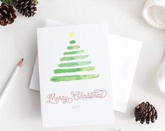 christmas tree christmas cards - watercolor christmas cards set - minimalist christmas cards - minimalist watercolor christmas cards