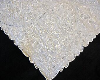 Madeira Embroidered, Appenzell Swiss Handkerchief, Wedding Hankerchief, Antique Embroidery Hankies Hanky