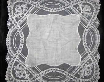 Mother of the Bride Handkerchief, Embroidered Handkerchief, Vintage Hankie