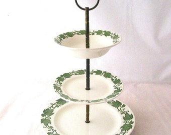 Royal USA China English Ivy 3 Tiered Serving Tray Fruit Dip Green Ivy Design Vintage 1950s