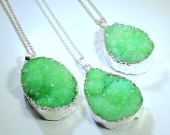 10% off SALE Green Druzy Necklace on Sterling Silver Chain Druzy Pendant Geode Pendant Boho Chic Sterling Silver Jewelry Druzy Jewelry