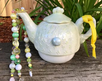 Upcycled Tea Pot Mobile, Repurposed Tea Pot Art, Beaded Wind Chimes, Hanging Garden Ornament, Recycled Jewelry, Kitchen Decor, Sun Catcher,