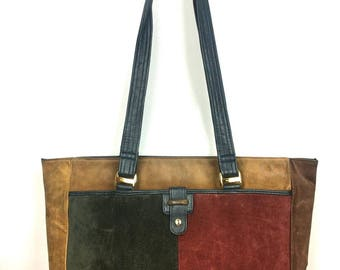 Vintage 80s Picard Shoulder Bag - 1980s Patchwork Leather Suede Tote Bag - Large Handbag Satchel -