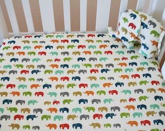 Organic Fitted Crib Sheet, Organic Toddler Sheet, Organic Crib Sheet, Elephant Crib Sheet, Elephants, Organic Toddler Bedding, Safari