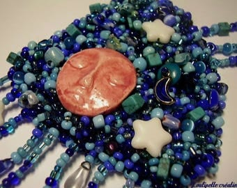 """Embroidered necklace """"night dreams"""""""