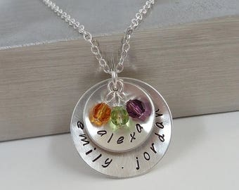 SALE - Hand Stamped Sterling Silver Layered Disc Necklace - Personalized Custom Jewelry - Mommy Necklace