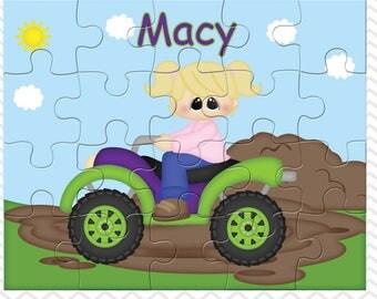 ATV Girl 4-Wheeler Personalized Puzzle, Personalized ATV Puzzle, Personalized Kids Puzzle