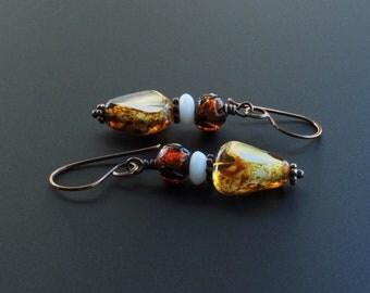 Golden Honey Amber Czech & Vintage Glass Dangle Earrings