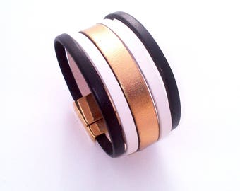 leather cuff black white and gold with gold magnetic clasp 30mm wide