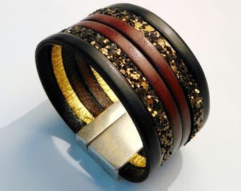 dark chocolate leather cuff glitter and cognac with silver magnetic clasp