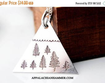 WEEKEND SALE Triangle Mountain Pendant, Hand Stamped Necklace