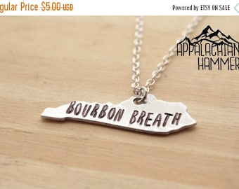 WEEKEND SALE Bourbon Breath Kentucky State Hand Stamped Pendant