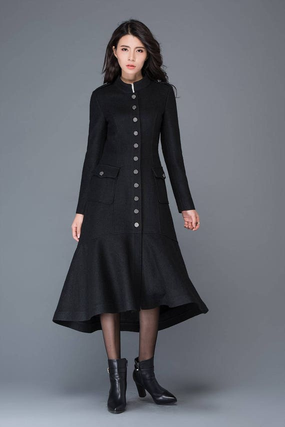 Maxi coat wool coat long black coat dress coat winter warm