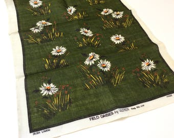 Vintage Linen Tea Towel, Field Daisies Tea Towel, Ulster Linen Made in Ireland, Perfect Condition