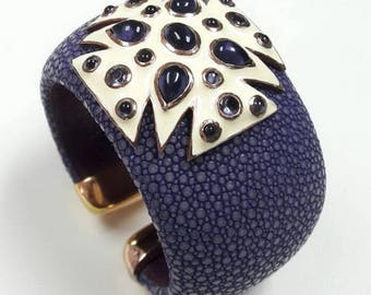 Hot Design ! 925 Silver 40mm Stingray Leather Bracelet Cuff With Amethyst And Ruby.