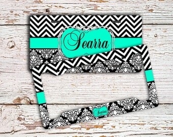 Personalized gift for wife, Monogram license plate or frame, Chevron car vanity tag, Damask bicycle accessories Pretty Turquoise black (1321