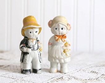 Vintage Bisque Wedding Dolls, Bisque Bride and Groom, Bisque Penny Dolls, 1920s Bisque Bride and Groom Dolls, Made in Japan