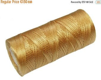 ON SALE Crochet Thread - 15 Meters/16 Yards Nylon Cord - Not Waxed - Macrame Thread - BeadWeaving Thread 0.8mm - Golden Brown