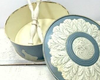 SUMMER SALE Vintage Blue and White Paradise Fruit Cake Tin