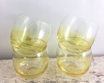 SUMMER SALE Set of Four Vintage Yellow Roly Poly Glasses