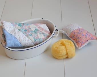 RTS OOAK Vintage quilt layer mohair wrap enamel bowl and quilt pillow set pastel colours bundle vintage girl/boy photography prop layer