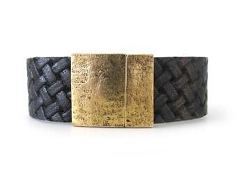 Men's Leather Bracelet - Black Leather Jewelry - Leather Cuff Bracelet - Bracelets for Men - Bracelets for Women - Cuff Bracelet - UL7230