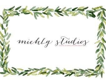 22 Watercolor christmas clipart, watercolor wreath clipart, flower clip art, flowers, VECTOR, PNG, laurel wreath, florals, hand painted