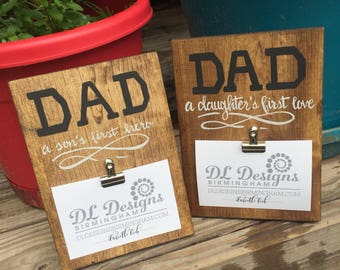 Father's day picture frame daughters first love sons first hero