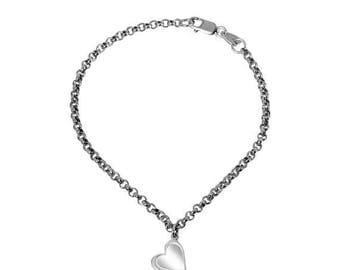 ON SALE Heart Charm Anklet Sterling Silver