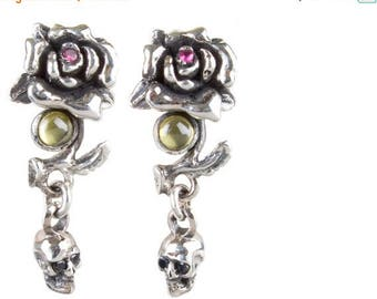 ON SALE Skull and Rose Drop Earrings in Sterling Silver