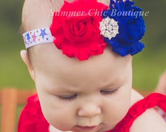 Fourth of July Headband, 4th of July Headband, Infant Headband, Newborn Headband, Baby Headband, Red White and Blue Headband