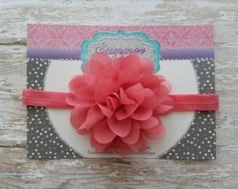 Coral Baby Headband, Coral  Headband, Baby Headband, Infant Headband, Newborn Headband, Coral Chiffon Petal Flower