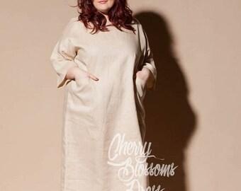 SALE ON 20 % OFF Plus size linen dress/ Plus size dress/ Plus size Kaftan/ Plus size clothing/ Plus size Long dress/ Plus size summer dress