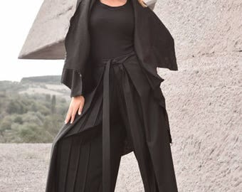 New Loose  Wide Black Plated Skirt - Pants / Wide Leg Pants Spring / New  Collection  by Aakasha A05422