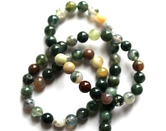 8 mm Round Moss Agate Beads