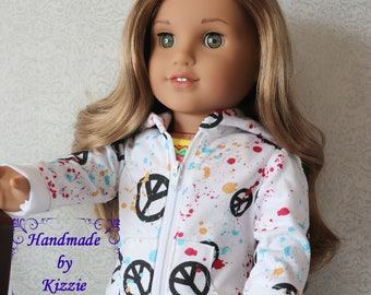 18 inch Doll Hoodie Sweater, Kizzie Creations, Handmade, Doll Hoodie, Doll Sweater