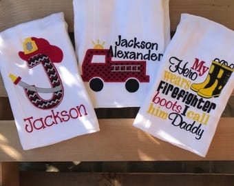 Baby boy burp cloth gift set - firefighter theme burp cloth - firefighter - fire truck - personalized burp cloths, fireman baby gift
