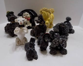 Lot of 9 Vintage Spaghetti Figurines  Pony, Dogs, Poodles