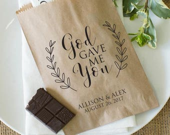 Christian Wedding Favor Bags - Cookie Bags, Donut Bags, Popcorn Bags or Candy Bags - Bridal Shower Wedding Favors - Pack of 25