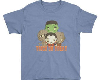 Halloween Youth Frankenstein Zombie Mummy Vampire Trick or Treat t-shirt