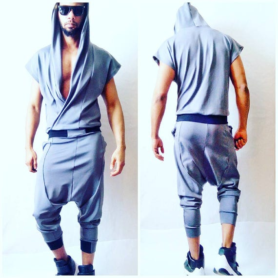 Ponte Draped Front Jumpsuit/Flightsui in Grey Wrap Hoodie Drop Crotch Harem Flight Suit romper rick owens harem jogger apocalyptic