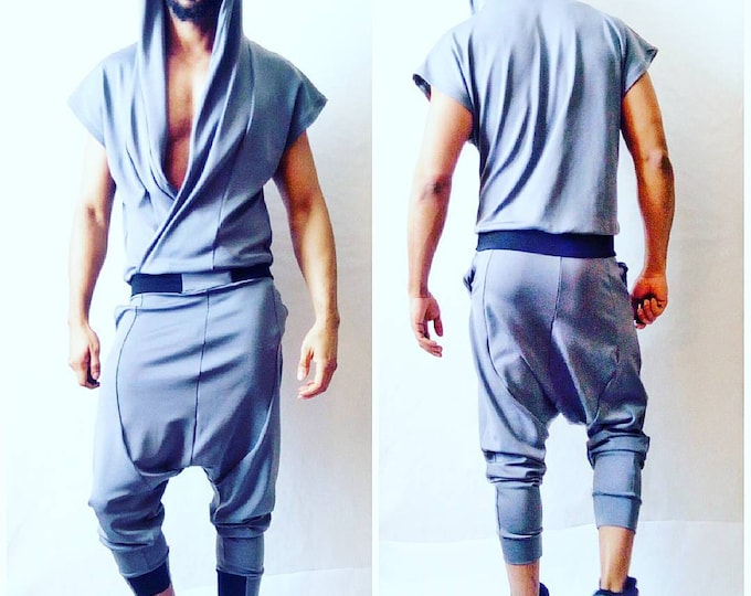 Black or Grey Ponte Draped Front Jumpsuit in Grey Wrap Hoodie Drop Crotch Harem Flight Suit romper rick owens harem jogger apocalyptic