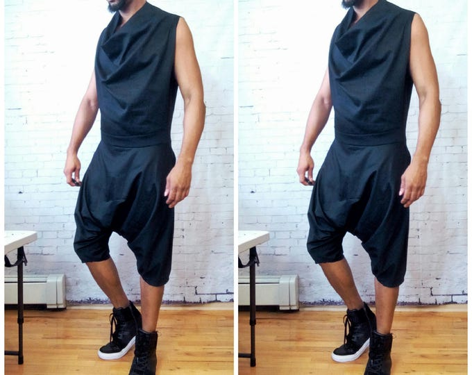 Harem Woven Jumpsuit With Draped Cowl Neck Harem Pant One piece Sleeveless Back Zip Inspired by  YSL,WestWood, Rick Owens Romper RompHim