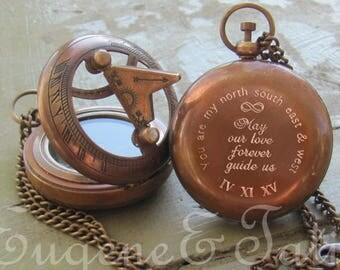 Sundial Compass, Pocket Compass, Working Compass,  Long Distance Boyfriend Gift, Engraved Compass, Personalized Compass, Boyfriend Gift
