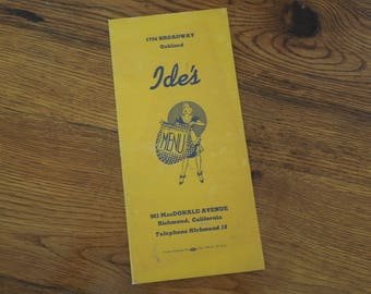Vintage Menu 1940's Ide's Oakland and Richmond California