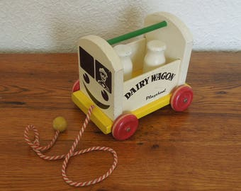 Vintage Playskool Dairy Wagon Wood Pull Toy Milk Bottles Dinky Dairy