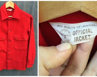 50's Boy Scouts of America Red Wool Shirt Jacket  - Men's Size Small