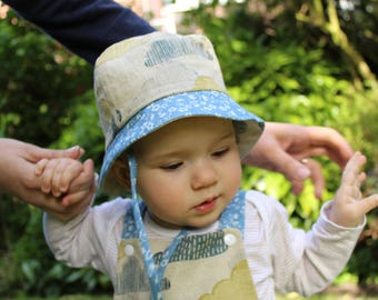 Cotton cloud print baby sunhat