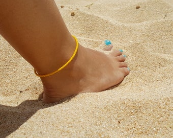 lemon yellow anklet tropical beach zesty summer vacation cruise wear seed bead